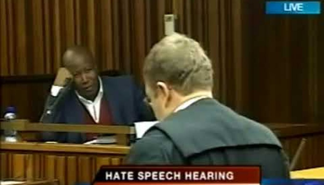 Malema – Handles a Lawyer in court during Hate speech case