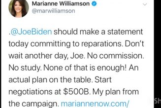 Marianne Williamson tweets that Joe Biden should publicly support reparations #ADOS #Reparations