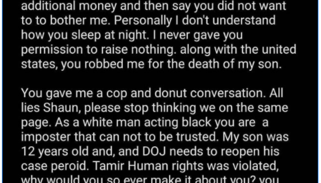 Tamir Rice's mom just ethered Shaun King…
